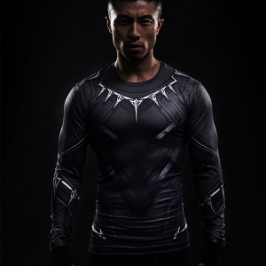 Black Panther 3D Printed T shirts Captain America Civil War Tee Long Sleeve Cosplay Costume Gym
