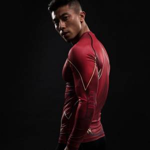 Compression Shirt Flash 3D Printed T shirts Men Raglan Long Sleeve Flash Cosplay Costume Slim Fit 3