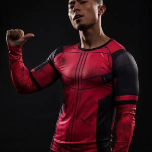 Fun Deadpool 3D Printed T shirts Men Cosplay Costume Display Long Sleeve Compression Shirt Fit Gym 2