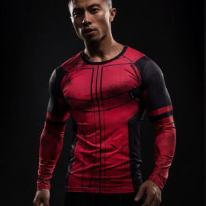 Fun Deadpool 3D Printed T shirts Men Cosplay Costume Display Long Sleeve Compression Shirt Fit Gym 3