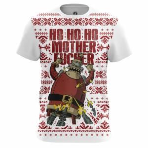 Мужская футболка Новогоднее Ho ho ho Футурама Санта Клаус - m tee 1482275336 304