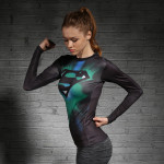 Female Longsleeve Rashguard Superhero Gym Crossfit Workout 6 1