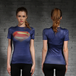 Female short sleeve Rashguard Superhero Gym Crossfit Workout 1 1