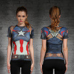 Female-short-sleeve-Rashguard-Superhero-Gym-Crossfit-Workout-10