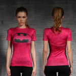 Female short sleeve Rashguard Superhero Gym Crossfit Workout 12 1