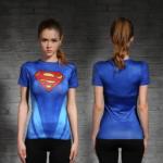 Female short sleeve Rashguard Superhero Gym Crossfit Workout 5 1