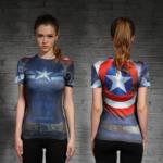 Female short sleeve Rashguard Superhero Gym Crossfit Workout 6 1