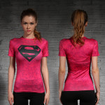 Female short sleeve Rashguard Superhero Gym Crossfit Workout 9 1