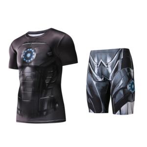Рашгард костюм Чёрный Железный Человек Белье - Iron man rashguard set blacj edition crossfit rash guard gym powerlifting