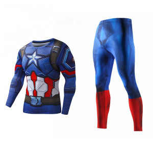 Рашгард костюм Капитан Америка Для зала - Rashguard Suit Compressions Set Crossfit GYM 4 buy