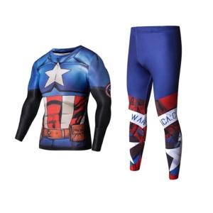 Рашгард костюм Капитан Америка синий - Rashguard Suit Compressions Set Crossfit GYM 5 buy