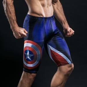 Спортивные шорты Капитан Америка Синий - Shorts Rashguard Leggings Pants Compression Suit 2 buy