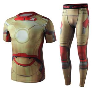 Рашгард костюм Железный Человек для зала - Superhero Gym Suit Marvel DC Rashguard Pants Top T shirt 1 1