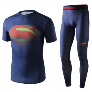 Рашгард костюм Супермэн Защита для зала - Superhero Gym Suit Marvel DC Rashguard Pants Top T shirt 3 1