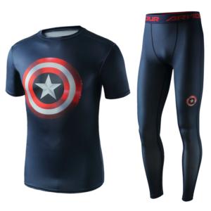 Рашгард костюм Капитан Америка для зала - Superhero Gym Suit Marvel DC Rashguard Pants Top T shirt 4 1