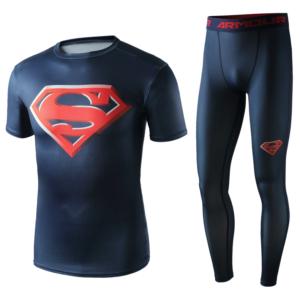 Рашгард костюм Супермэн Красный для зала - Superhero Gym Suit Marvel DC Rashguard Pants Top T shirt 5 1