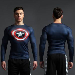 Капитан Америка Компрессионная одежда джерси - Superhero Rashguard Gym Workout Crossfit DC Marvel Emblem Comics 2 1 1