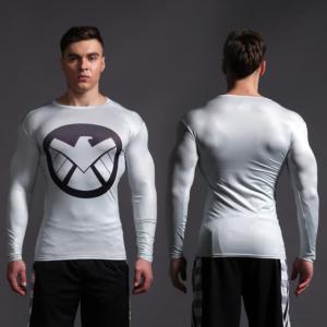 Агенты ЩИТ Компрессионная одежда джерси - Superhero Rashguard Gym Workout Crossfit DC Marvel Emblem Comics 8 1 1
