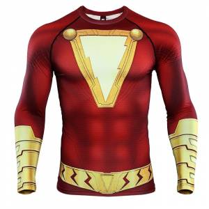 Shazam 3D Printed T shirts Men Compression Shirts Raglan Sleeve 2019 Newest Pattern Comic Tops Male 6