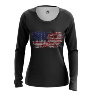 Женский лонгслив Американский флаг США - main 6jv9vlj2 1564417038