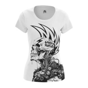 Женская футболка Ghetto правила Панк Черепа - main oe4z5nv4 1538408256