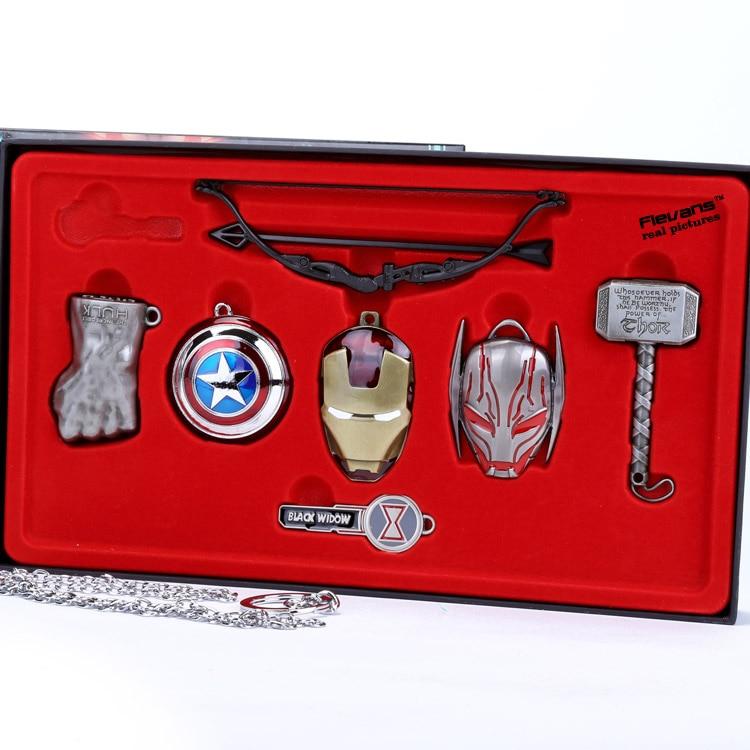 Кулоны Мстители 6 шт. комплект 5-13,5 см Коллекционная Коробка -