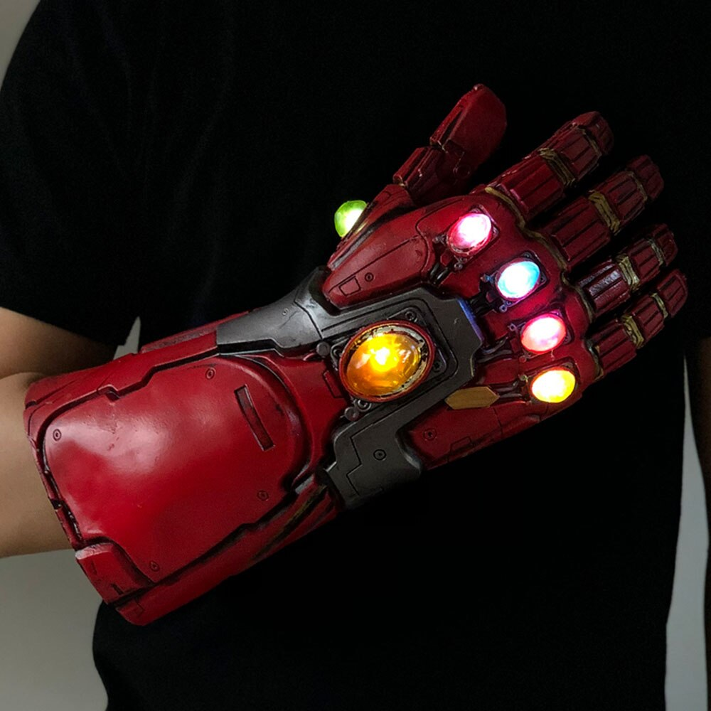 Led Light Iron Man Infinity Gauntlet Avengers Endgame Cosplay Arm Thanos Gauntlet Latex Gloves Arms Superhero Weapon Props New1