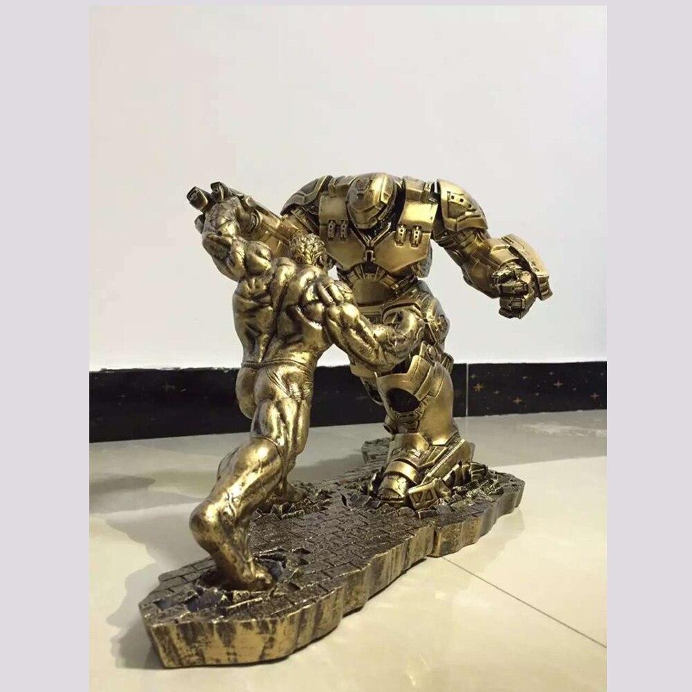 Limited-Quantity-2pcs-Set-Hulk-VS-iron-man-MK44-Statue-Finish-Painting-Resin-Staue-Action-Figure